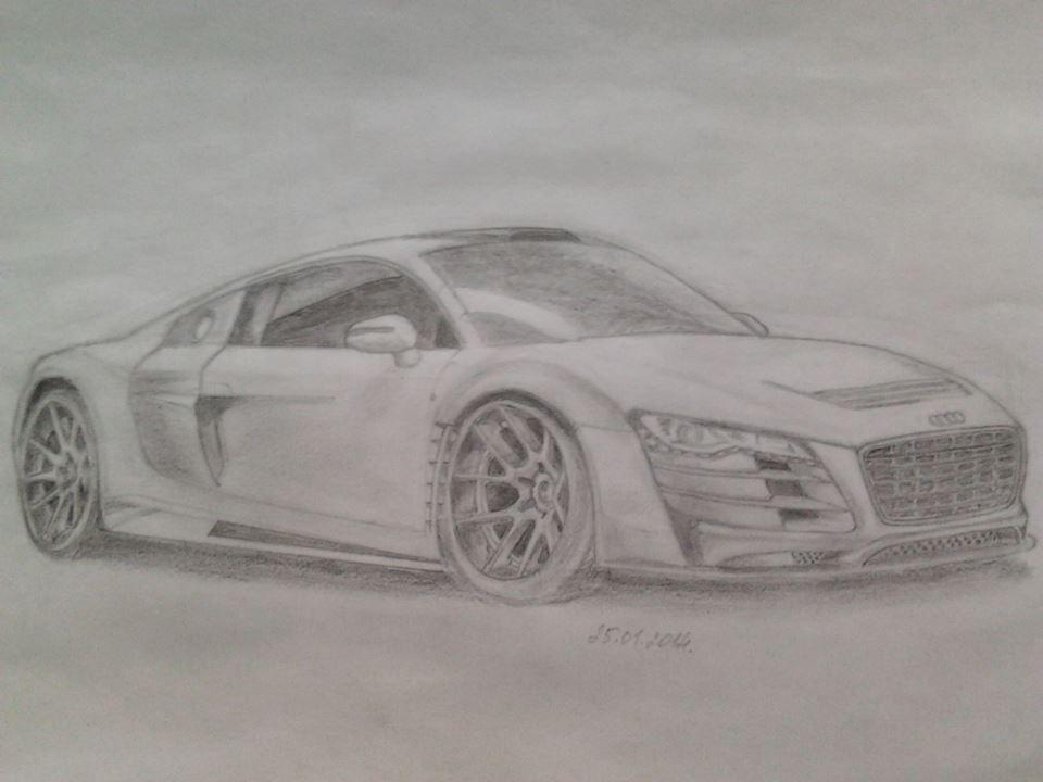 Рисуем автомобиль карандашом с фотки. *