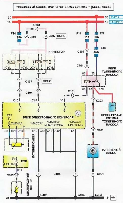 электрическая схема гольф 3.