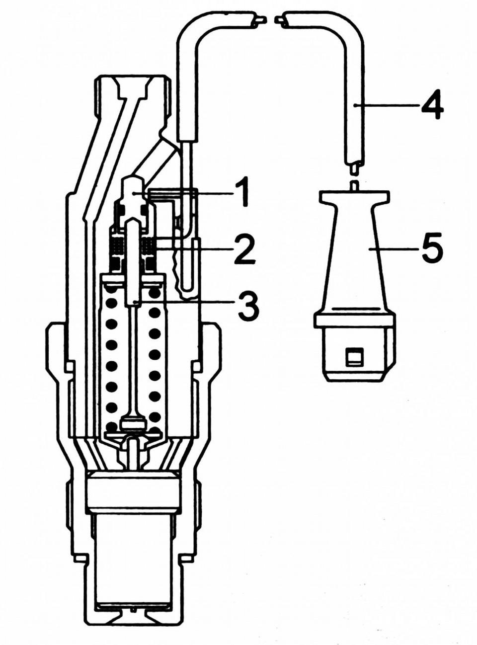 Рис.5.Схема форсунки с датчиками подъема иглы: 1 - регулировочный винт; 2 - катушка возбуждения; 3 - шток; 4 - провод...