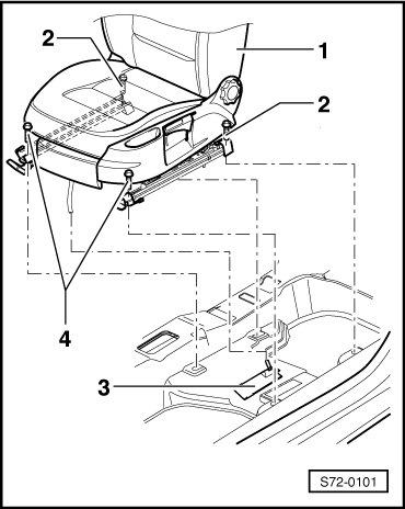 Схема деталей передних сидений