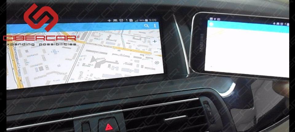 Зеркальное отображение смартфона на экране автомобиля BMW F10 525D xDrive. Отображение навигационной программы.