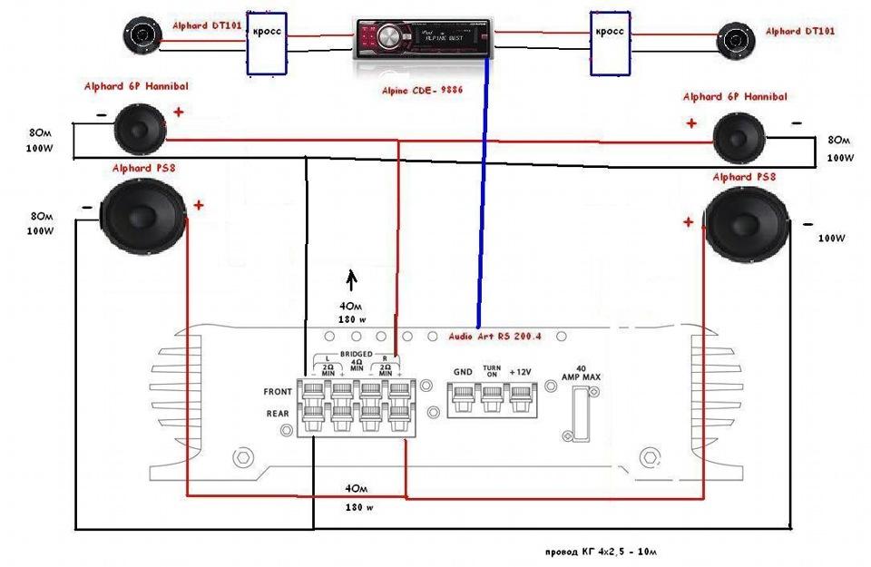 Схема включения динамиков в акустики