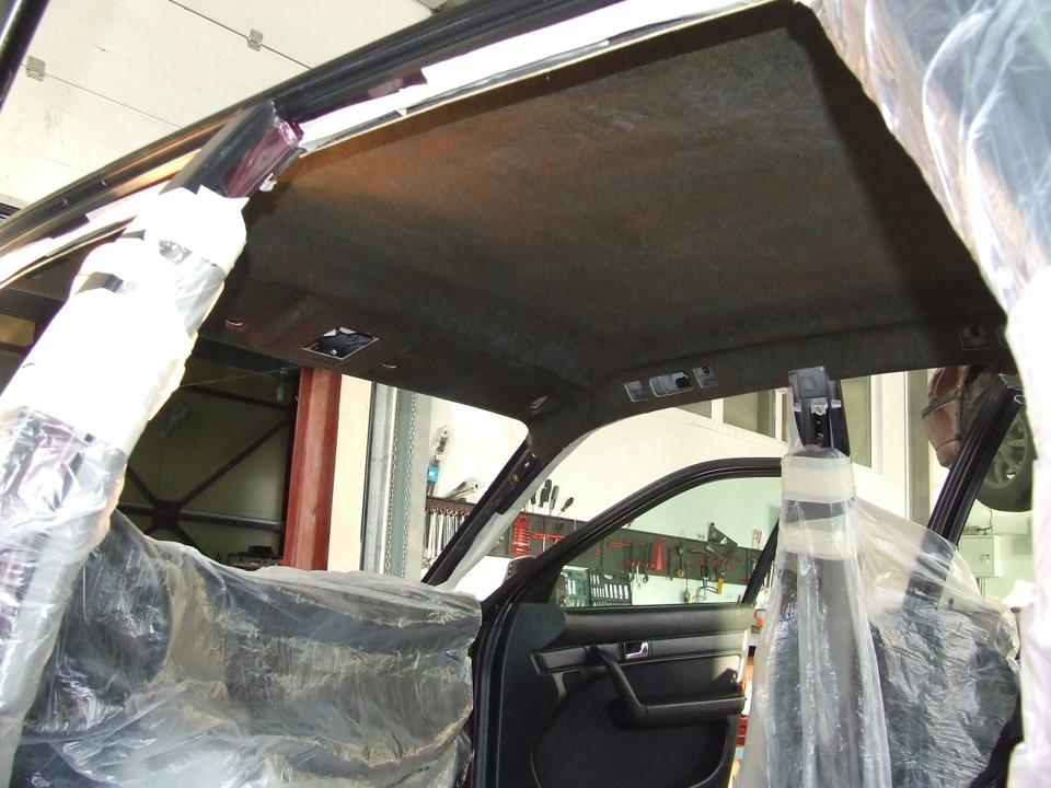 Перетяжка потолка автомобиля своими руками ауди 18