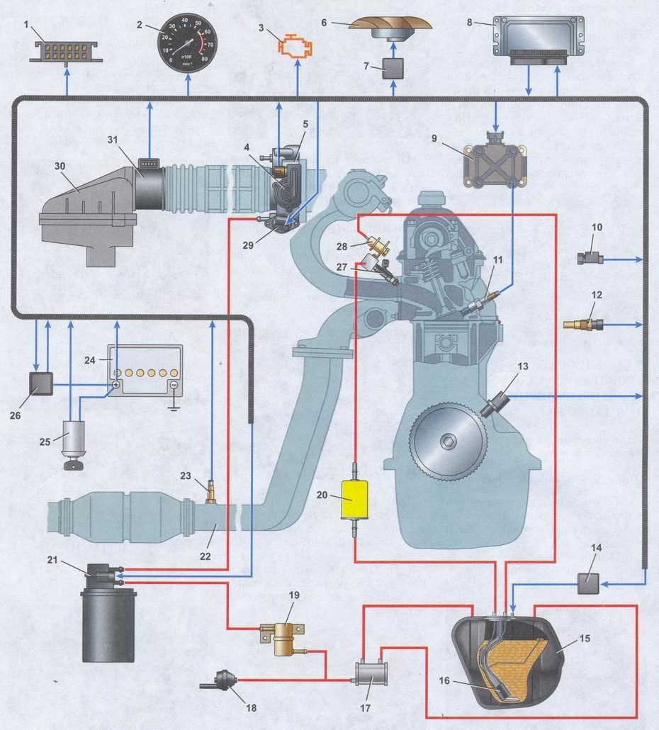 проводка контроллера 21102 схема