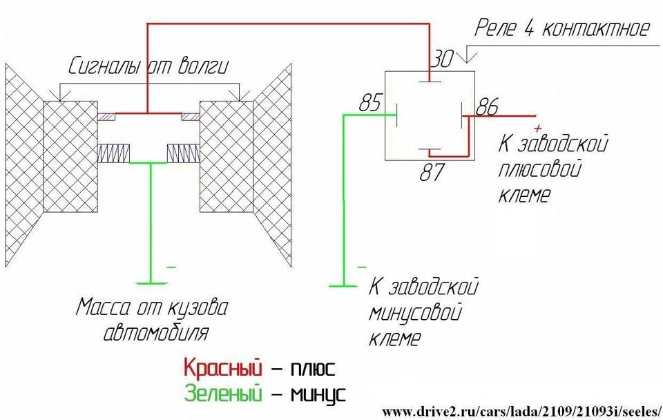 Следующий шаг - в подготовленное место устанавливаем сигнал и подключаем его по схеме, которую вы видите на рисунке.