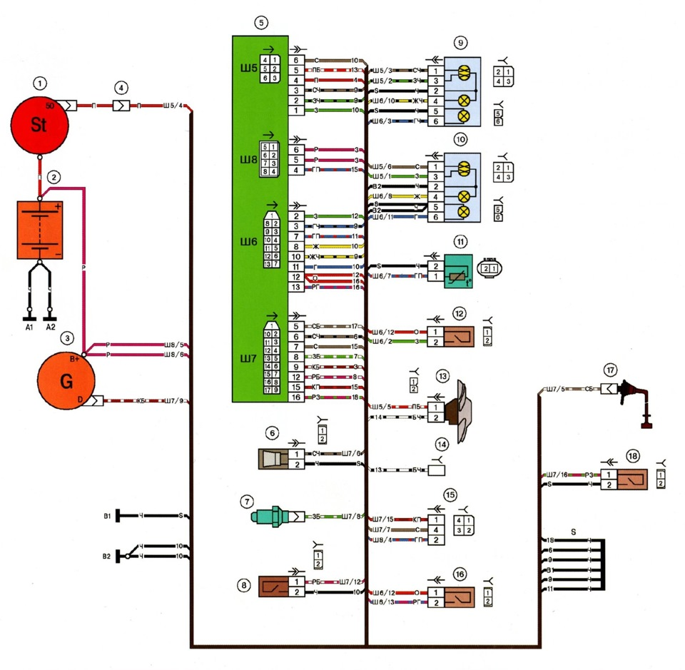 ваз 2115 схема подключения прикуривателя