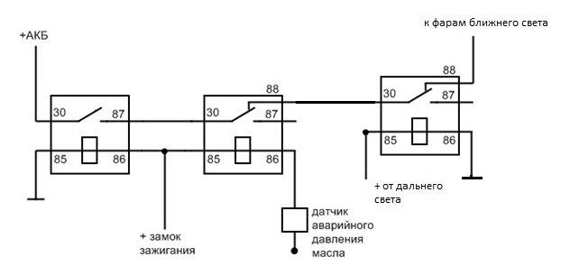 Схема автоматического включения фар 689