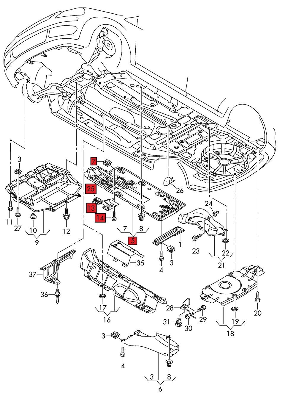 Схема для днища машины
