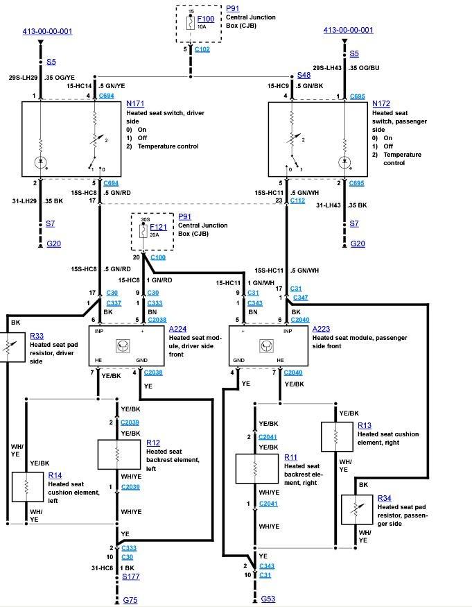 Схема проводки обогрева Фокус