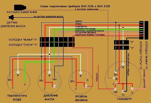 подключение приборов 2106 в
