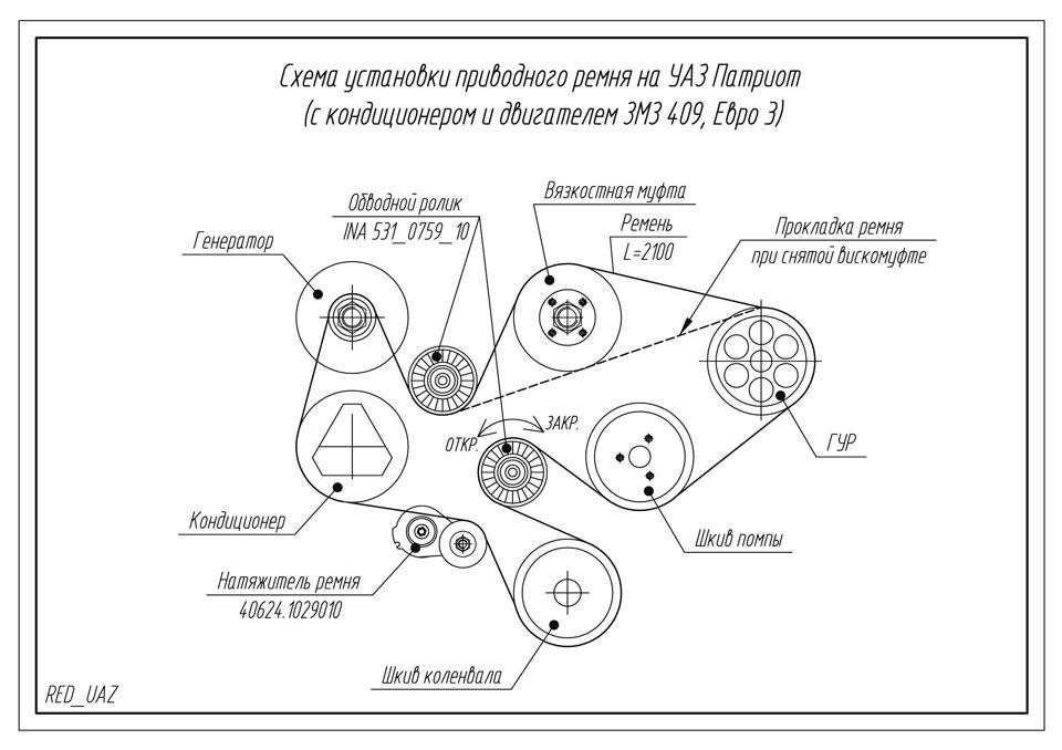 d0b7216s 960 - Схема ремня генератора уаз патриот с кондиционером