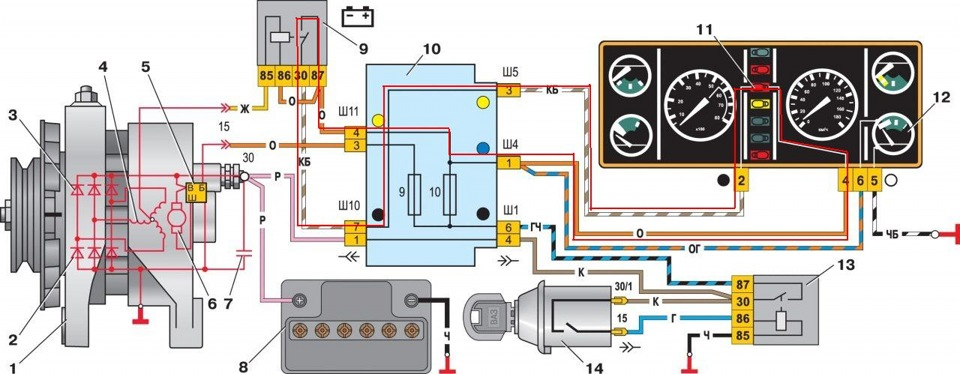 Контрольная лампа зарядки аккумулятора бортжурнал Лада   красной линией и лампочка в цепи просто не может гореть так как через нее нет цепи у нее по обеим сторонам одинаковые 12 от включенного зажигания