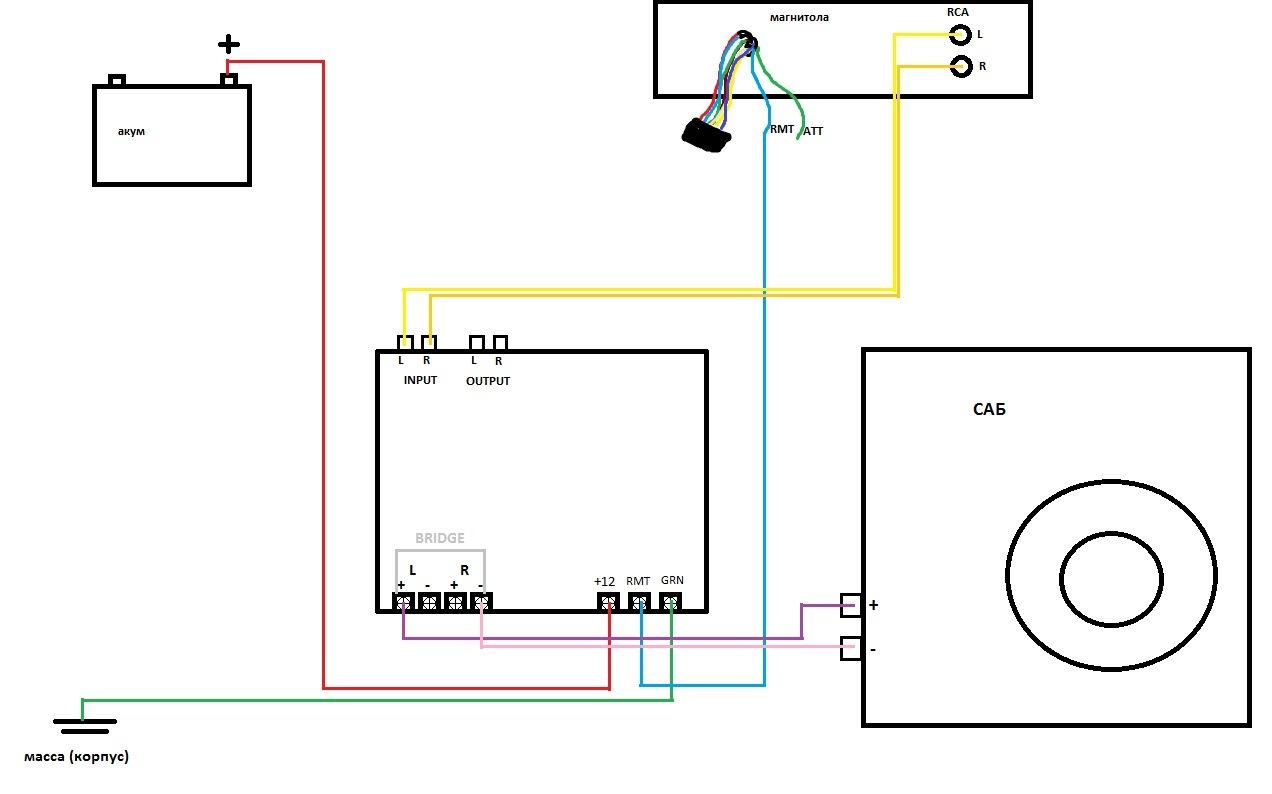 Схема как подключить усилитель сабвуфер и накопитель