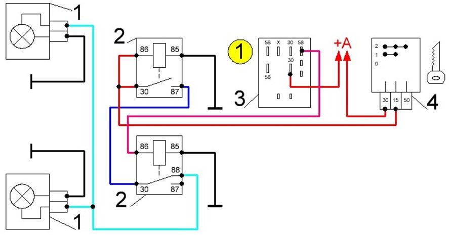 Схема включения фар и