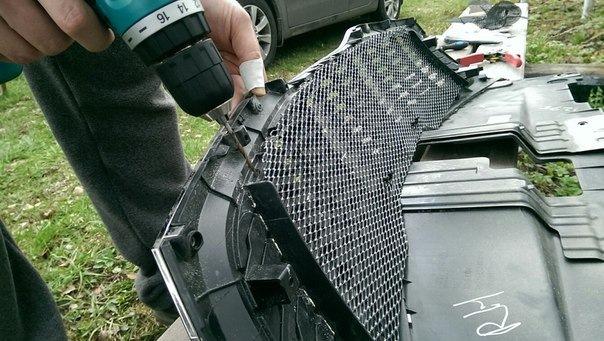 Установка защитной сетки на решетку радиатора - logbook KIA Rio 2014 on DRIVE2
