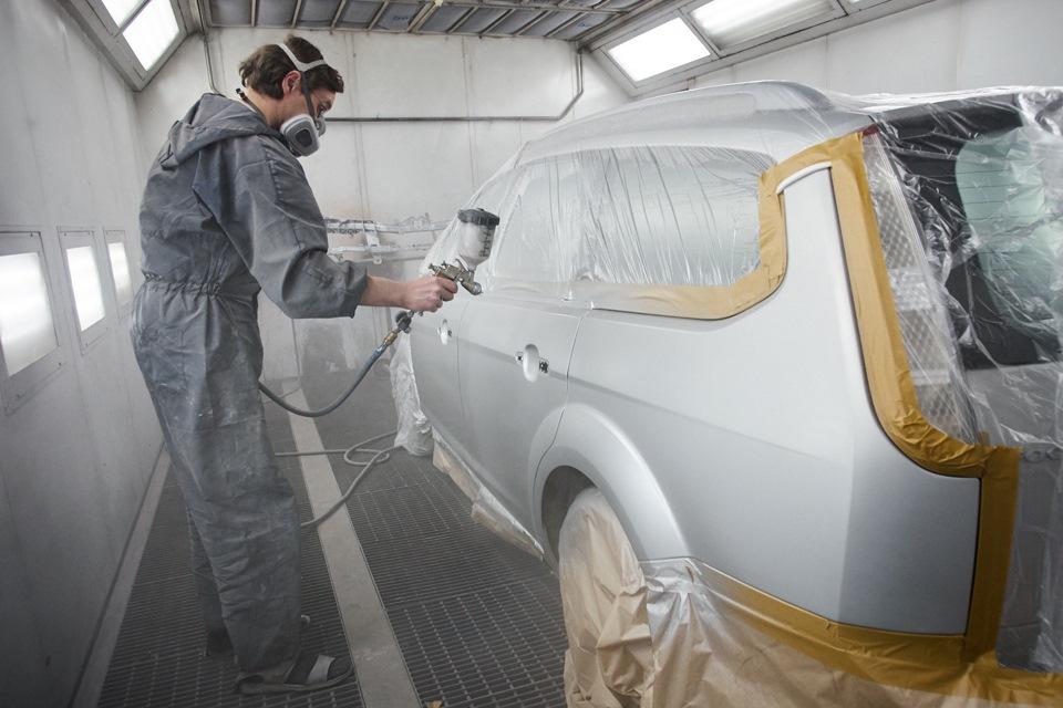 Покраска заднего левого крыла и дверей Ford Focus