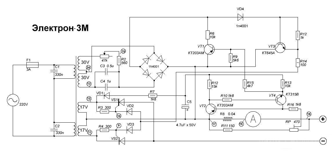 Принципиальная электрическая схема зарядного устройства акб
