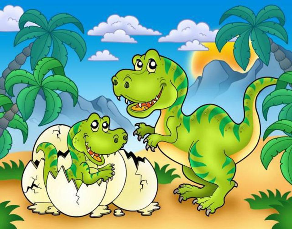Лет подруге, детская открытка с динозаврами