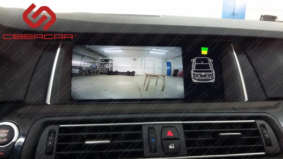 Камера переднего вида для BMW F10 525D xDrive с отображением штатных парктроников.