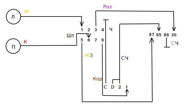Схема подключения противотуманных фар для шеви нива