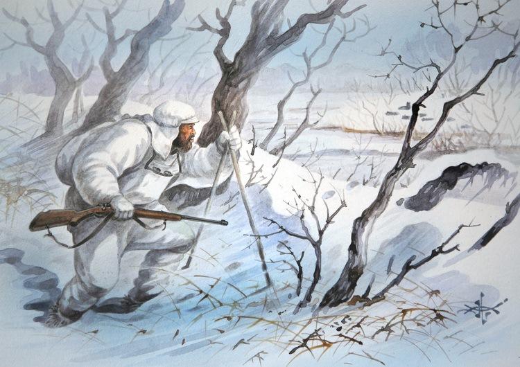 община охотник в зимнем лесу рисунок прошу упомянуть