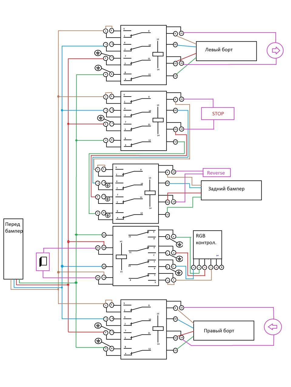 Схема подключения подсветку днища