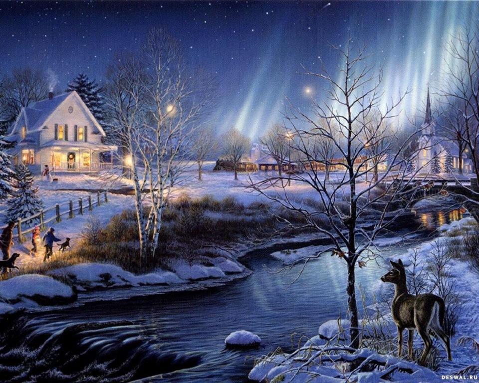 Самодельные, открытки с зимним вечером и с зимним