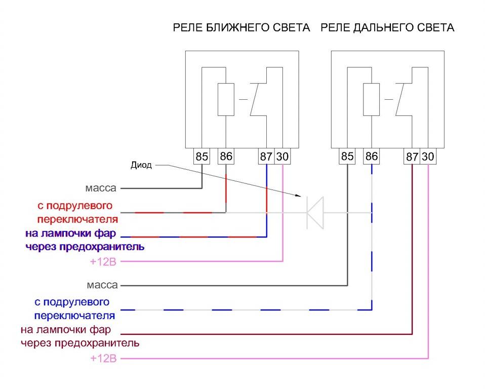Схема реле ближнего света фар ваз 2106