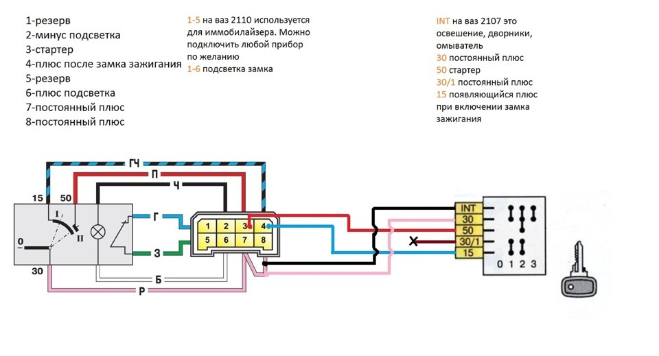 Схема подключения нового замка