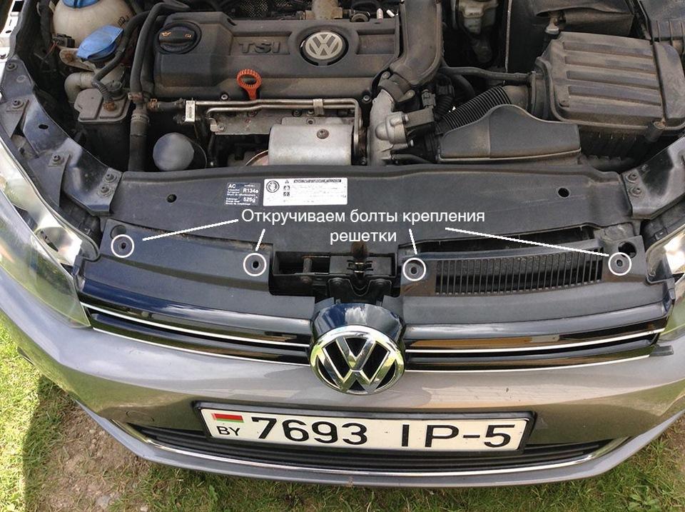 решётка радиатора со значком volkswagen golf 6