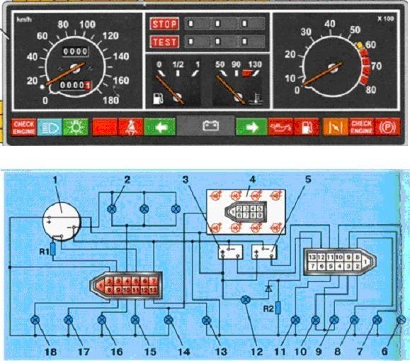 Приборная панель 2109 схема 320