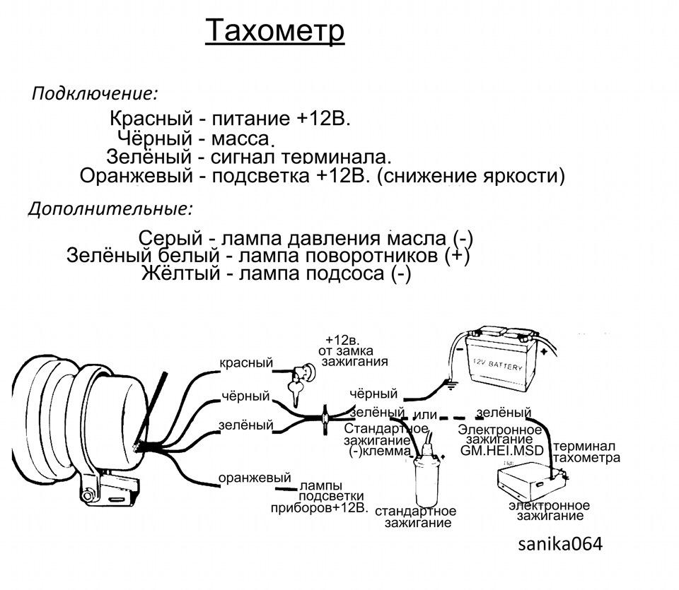 Схема тахометра autogauge