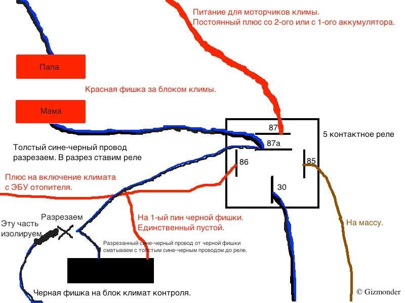 схема подключения люка audi - 100