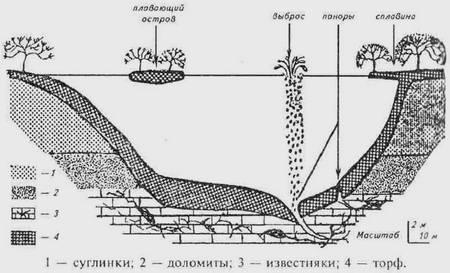 Схема строения озера