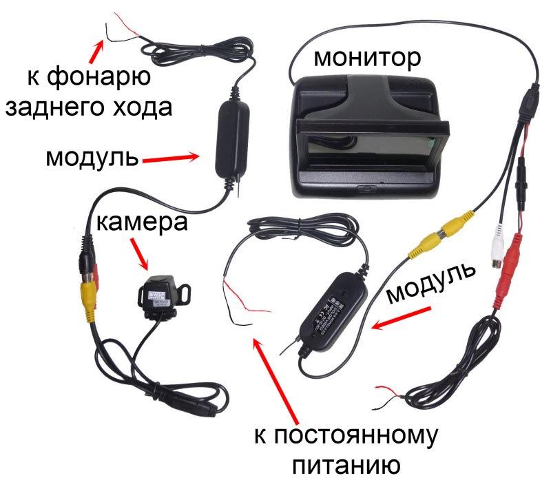 Подключение беспроводной камеры заднего вида своими руками