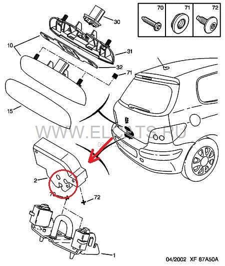 Схема замка багажника пежо 307