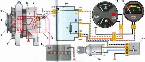 Схема генератора ваз-2106