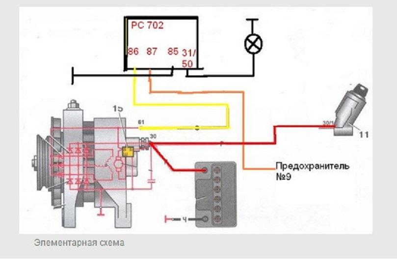 электрическая схема подключение генератора на ваз 21 06 ах