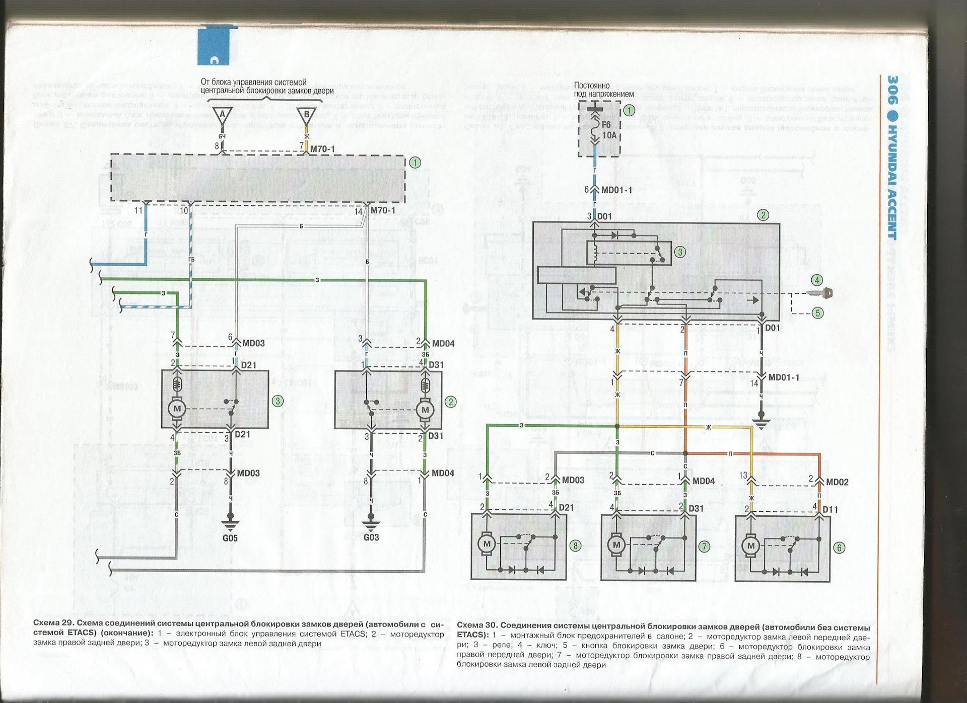 Схема подключения центрального замка акцент