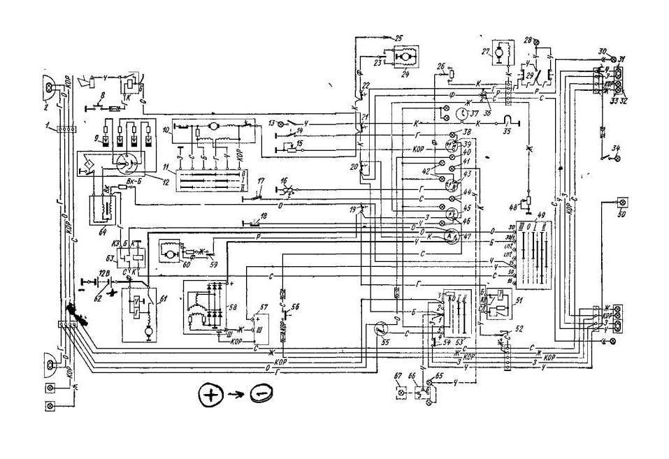 Схема проводки газ 24 первой