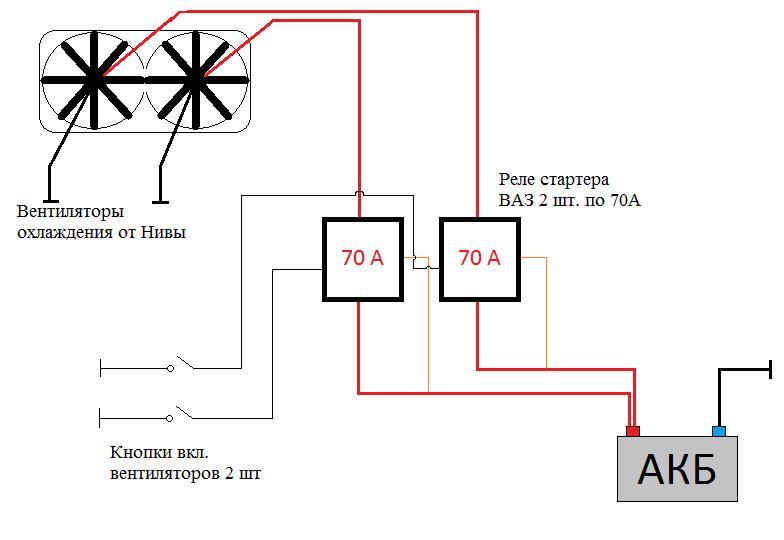 Схема как подключить вентилятор охлаждения через реле