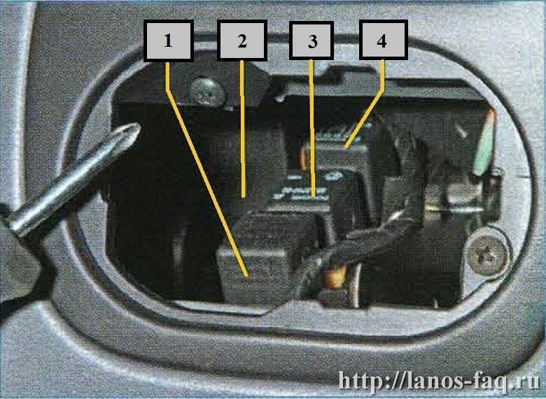Где находится реле поворотники ланос