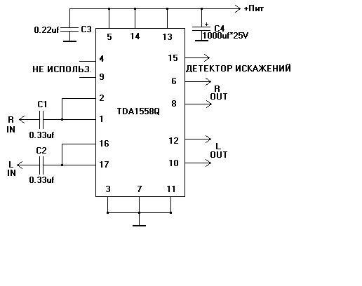 Для изготовления мне понадобилось: TDA1558Q, электролитический конденсатор на 1000uF 25V,два конденсатора 0.33uf, и...