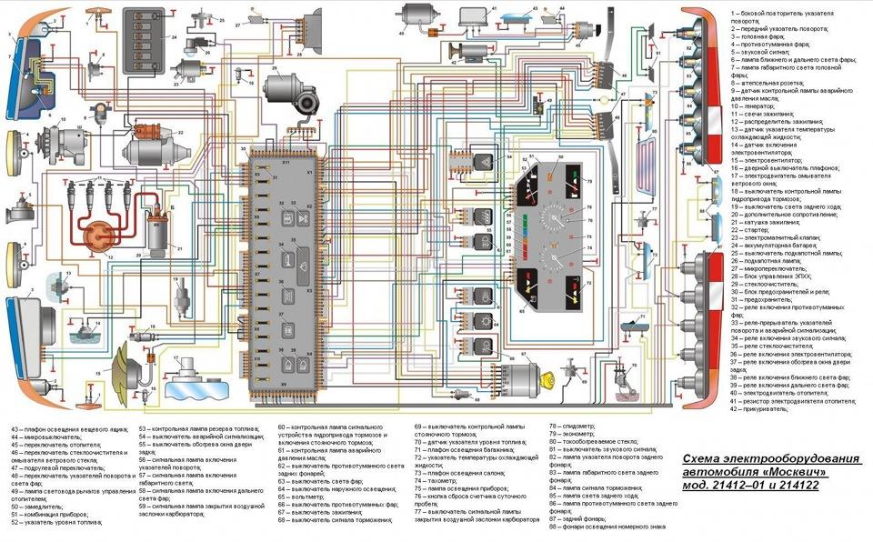 схемы электропроводки М — 2141