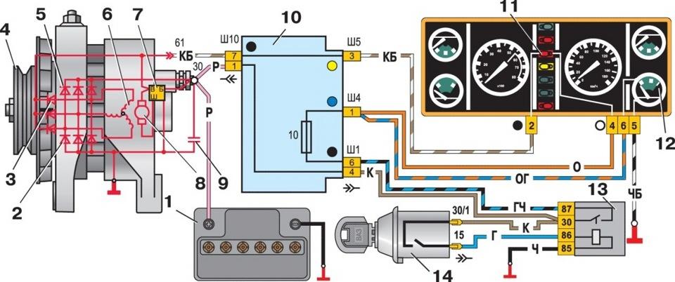 Нет зарядки на ваз-2107 инжектор: причины, ремонт.
