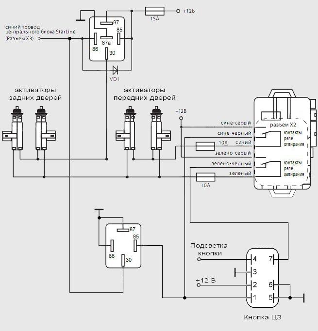 Схема подключения кнопки ЦЗ с