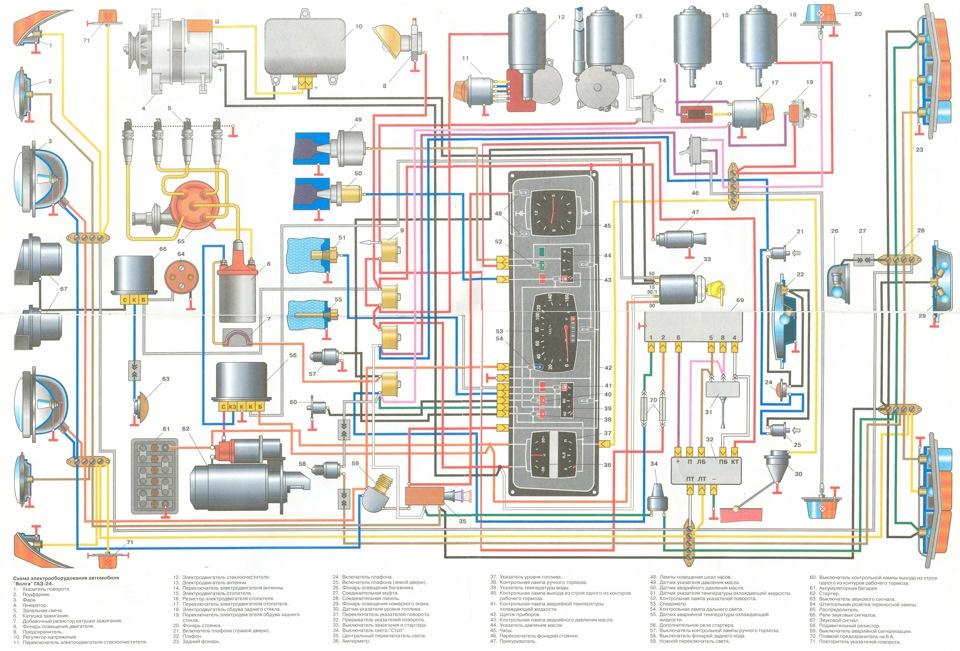 Электро схема Газ 24 волга,