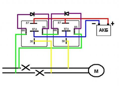 Схема подключения реле к стеклоподъемнику.