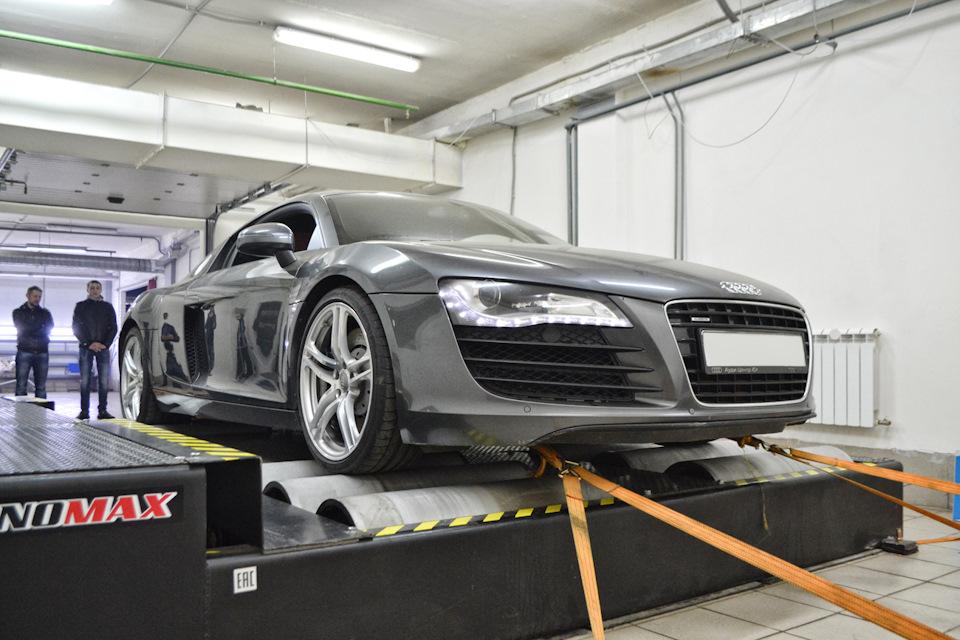 Замер мощности Audi R8 после комплекса работ