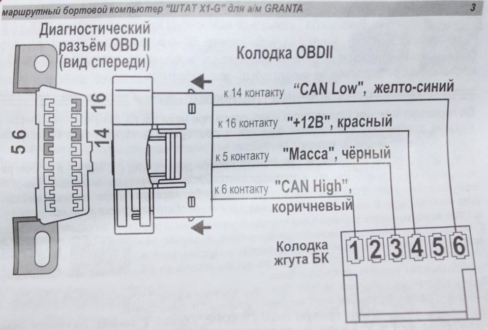 Схема подключения БК ШТАТ